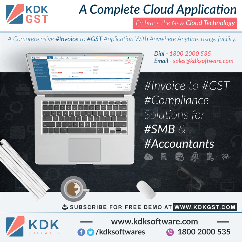 Go for#KDKGSTa complete cloud based#Invoiceto#Gst#ComplianceSolution for#Tax#Professionals&#SMBs.