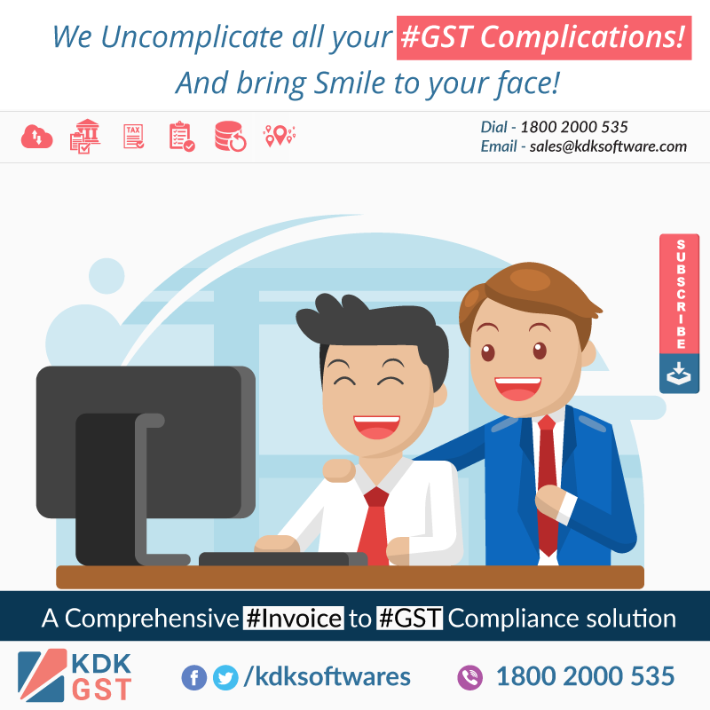 We Uncomplicate all your #GST Complications! And bring Smile to your face! #KDKGST a complete cloud based #Invoice to #Gst #Compliance Solution for #Tax #Professionals & #SMBs. For Sales Enquiry call at 1800 2000 535 e-mail your contact details at sales@kdksoftware.com or Visit us at www.kdkgst.com / www.kdksoftware.com #KDK #GSTSoftware #GSTForNewIndia #GSTForCommonMan