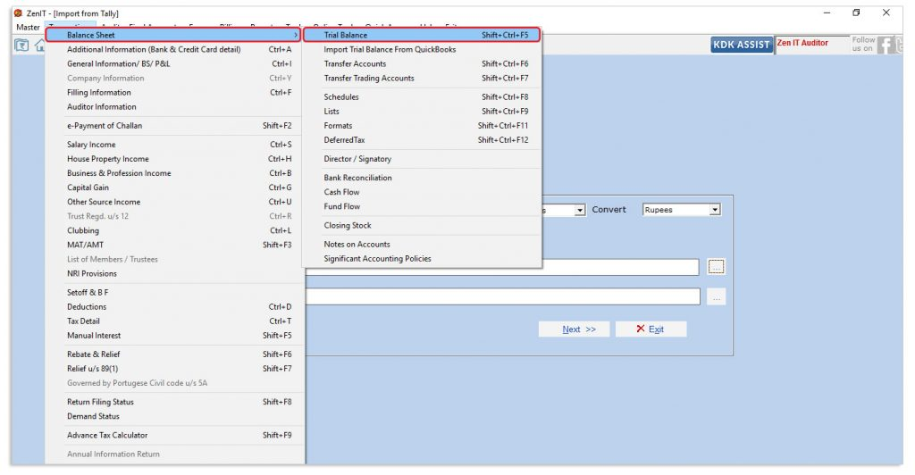 Help file for importing Trial Balance directly from Tally